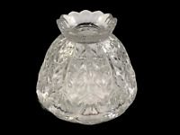 """Small Prescut Clear Crystal Glass Boudoir Lamp Shade Scalloped 6"""""""