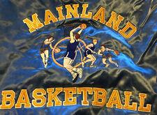 Large Vintage Mainland Basketball Satin Button Up Embroidered Jacket Hip Hop