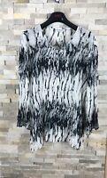 Roman Originals Ladies Size XL UK 16 Black White Pleated Shirt Top Blouse