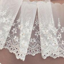 "Laces Galore Delicate White Embroidered  Voile  Lace 15 cm/6"" Trim Craft Bridal"
