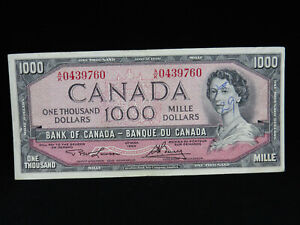 1954 $1000 Dollar Bank of Canada Banknote A/K0439760 Lawson Bouey VF Grade