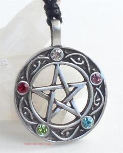 Pentacle of Life Pendant Necklace 5 beads Pentagram Druid Pagan Wiccan Jewellery