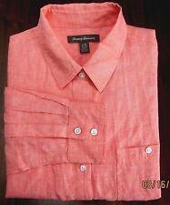Tommy Bahama Large Button-Front 100% Linen Long Sleeve Vibrant Orange Shirt EUC