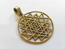 Sri Yantra Chakra Hippy Tribal Sacred Geometry Brass Pendant 37mm Diameter