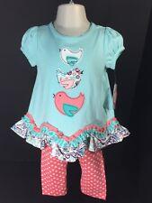 Nursery Rhyme Baby Clothes Girls SZ 18M 2 PC Set Short Sleeve Top & Leggings NEW