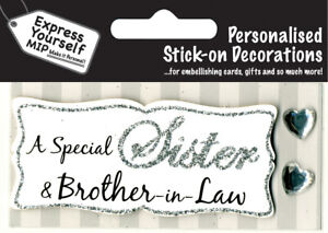 Silver Sister & Brother-In-Law Greeting Card Toppers Personalise Cards Yourself