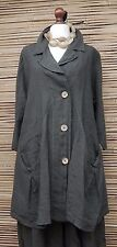 LAGENLOOK LINEN BEAUTIFUL A-LINE 2 POCKETS JACKET***CHARCOAL***BUST UP TO 50""