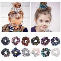 Kids Girls Sequin Hair Rope Mermaid Ponytail Holder Ring Scrunchies Reversible