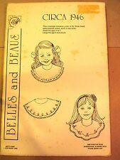 Belles And Beaus Pattern Circa 1946; 3 Hand Embroidered Collars in 2 sizes