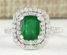2.44 Carat Natural Emerald 14K White Gold Diamond Ring