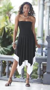 Ashro Black White Salsa Skirt Dress Summer Vacation Cruise Sz L XL 1X 2X 3X PLUS