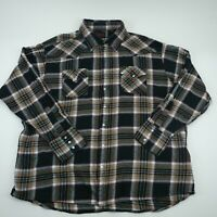 Plains Mens Western Wear Black Long Sleeve Pearl Snap Plaid Check Shirt Size 3XL
