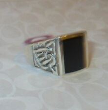 80% OFF Sterling Silver Natural Black Onyx Celtic Ring Size 11