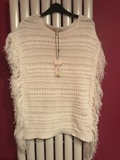 Bnwt Ladies Jumper Pull Over Poncho Size S Cream Chunky  Wool