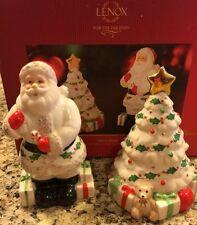 Lenox  Santa Tree Salt & Pepper Shakers NIB Christmas Table Centerpiece Decor