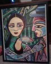 MABUHUI CLUB SF ABSTRACT HIPPIE POP FOLK ART 2006 SIGNED JOE GOMEZ OIL PAINTING