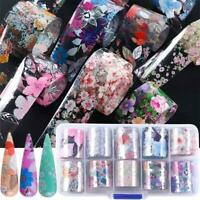 Flower Transfer Nail Foil Manicure Decor Holographic Decals Nail Art Stickers