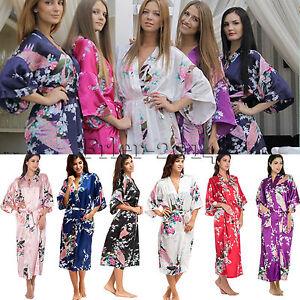 Women Lady Sexy Silk Satin Kimono Robe Gown Sleepwear Nightwear Bathrobe Pyjamas