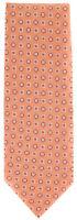 """New Finamore Napoli Orange, White, Light Blue Tie - 100% Linen - 3.5"""" Wide"""