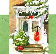 Red Sled Sledding Welcoming Front Door Holiday Greeting Cards - Set of 40