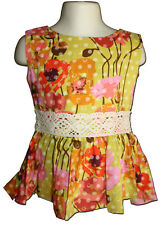 New PERSNICKETY Size 3 Garden Party POPPY PRINT Olive Peplum Top