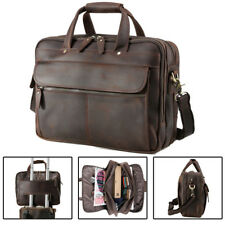 "Vintage Real Leather Men 16"" Laptop Briefcase Shoulder Bag Satchel Luggage Carry"