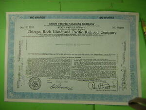 100 stock certificates on Chicago, Rock Island & Pacific Railroad.