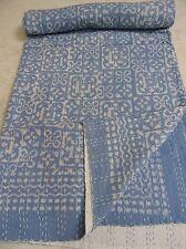 Banjara Textile Ajrakh Block Print Kantha Bedspread, Handmade Kantha Quilt, 504
