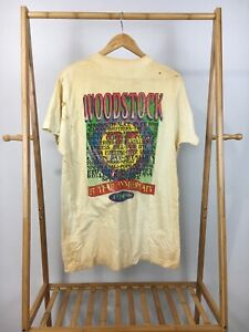 RARE VTG 1994 Woodstock 25 Year Anniversary Concert Distressed T-Shirt Size XL