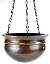 GAR569L H Potter Large Brass Patio Deck Hanging Planter - Antique Finish Flowers