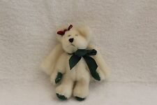 Boyds Bears Small Angel Bear With Green Bow and Holly Christmas
