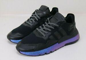 Adidas Night Jogger Black Metallic Blue Men's Size 9.5 Boost Shoes Sneake FV3615
