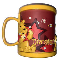 Vintage Disneyland Winnie The Pooh Plastic Rubber Mug Cup 3D Red And Yellow RARE