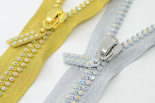 Rhinestone Zipper 60cm 2row  Silver Gold Crystal AB Clothes Jacket Sew on 2pcs