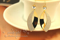 18K Gold Plated Crystal Frosted Fashion Drop Dangle Hook Earrings Stunning Gift