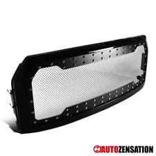 For 2015-2017 Ford F150 Glossy Black Front Mesh Rivet Style Hood Grille 1PC