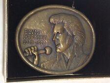 VINTAGE 1977 ELVIS PRESLEY COMMEMORATIVE BRASSTONE BELT BUCKLE WITH ORGNL CASE!