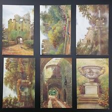 Warwick Castle Set of 6 Cards From J Salmon Artist Signed W W Quatremain, Unused