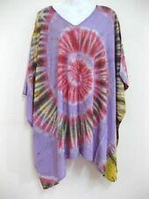 New Plus Size Tie Dye Poncho Tassel Top Hippy Batwing Sundress Kimono Bohemian