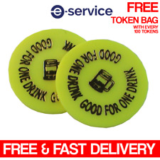 More details for good for one drink - yellow plastic embossed token - wedding, event, school, pta