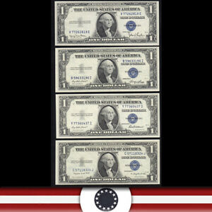 DEALERS LOT OF (4) CU SERIES OF 1935 $1 SILVER CERTIFICATES   664507G