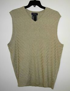 Roundtree Yorke Mens V-Neck Sweater Vest TALL Size XLT Tan Oatmeal NWT