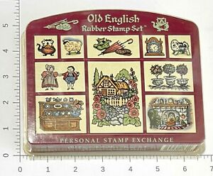 Vintage PSX Old English Rubber Stamp Set 10 Foam 1993 SK128 History Antiques