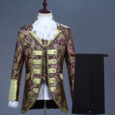 Mens 3 Piece Suit Embroidered Jacket Vest Victorian Costume Pants Trousers
