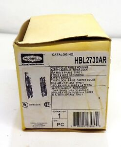 HUBBELL, ANGLE HOUSING RECEPTACLE, HBL2730AR, SAFETY SHROUD, 30 AMP, 480 VOLT