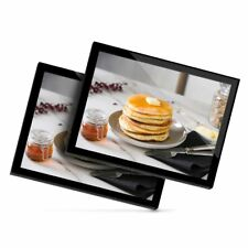 2 x Glass Placemats 20x25 cm - Pancake Breakfast Butter Syrup  #21989