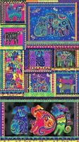Pre-cut Fabric Panel Laurel Burch Dogs & Doggies Y1795-56M Multi Bright Metallic