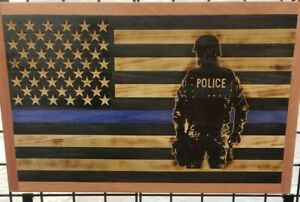 Thin Blue Line police man 15 x 26  American Wooden Flag,Rustic Flag.