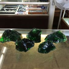 Lot 5 Pc Slag Glass Cullet Rock 6# Emerald Green Landscaping Aquarium Stone