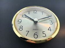"Clock Battery Fit-Up Insert Movement Arabic Gold Face 3 1/8"" fits a 3"" Hole"